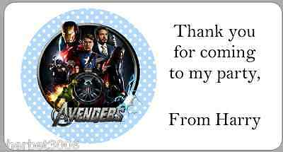 24 x Personalised Stickers Avengers Blue Address Party Labels
