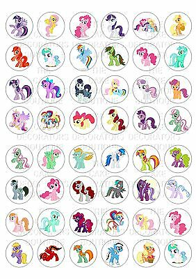 48 My Little Pony Wafer Rice Paper Mini Cupcake Topper Edible Fairy Cake Bun Top