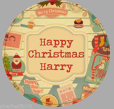 24 x 40mm Personalised Round Stickers Vintage Christmas Santa Labels
