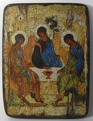 Handmade copy ancient icon ORTHODOX CHURCH Prayer ICON The Holy Trinity 18XL