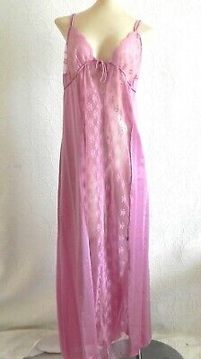 Vtg Undercover Wear Night Gown& Patie Set Pink lace trim Sleeveless Size XL