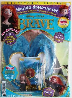 Rare! 1st issue Brave Magazine 8/2012+Merida Princess Slippers & Pretty Necklace