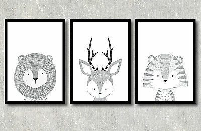 A4 WOODLAND Nursery Prints Forest Wall Art Modern Kids Room Decor Black White