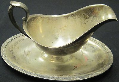 Vintage Early Silverplate Gravy Boat with Tray Plate Rare