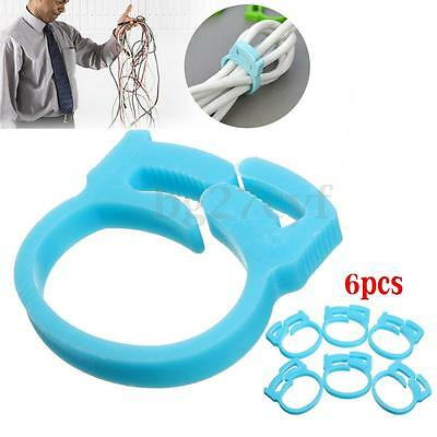 6Pcs Wire Cord Cable Holder Tie Clips Fixer Organizer Drop Tidy Car Home Office