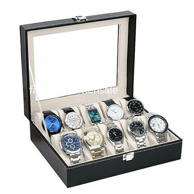10 Grids Slots Leather Jewelry Watch Display Case Box Storage Holder Organizer F
