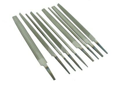 """Set of 9 Engineers Files 8"""" 200mm Bastard 2nd Cut Smooth Various Shapes F9975"""