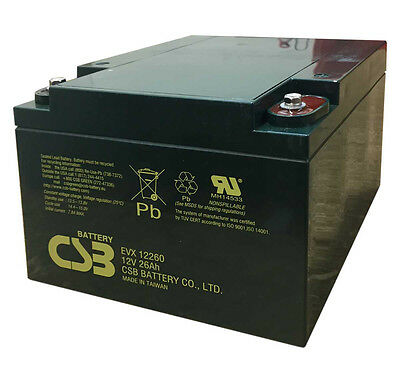 CSB 12V 26AH Pair Mobility Scooter Sealed Lead Acid Batteries EVX12260 Battery