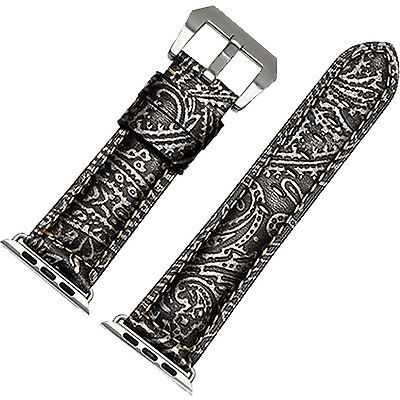 New Embossed Leather Loop Apple watch Strap Band Adapter 42mm Replacement