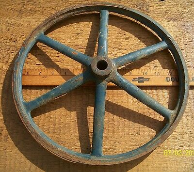 "Nice Old Iron, Industrial Pulley Wheel, Big 13 1/4"", Would Make Great Lamp Base"