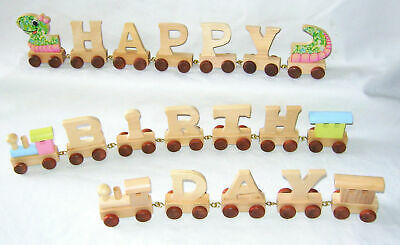 New Personalised Natural Wooden Letter  Request Name Word Train Toy Gift Legler