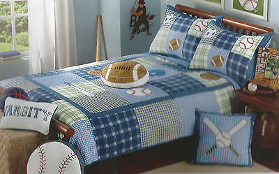 Authentic Kids Game Time Sports Baseball, Soccer Twin Quilt & Football Pillow