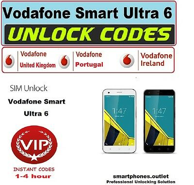 Vodafone Smart Ultra 6 Unlock Codes Worldwide database UK Ireland Portugal etc