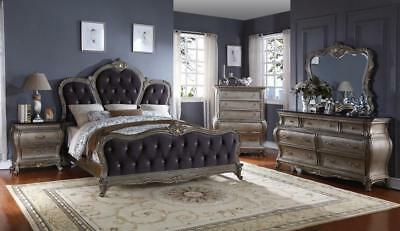 Meridian Roma King Size Panel Bedroom Set 5pcs in Antique Silver Contemporary
