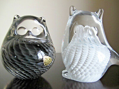 Pair Fm Konstglas Ronneby Sweden Art Glass Owl Paperweights Signed