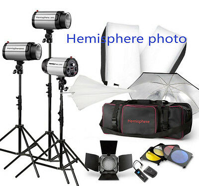 3 * 300W 900W STROBE STUDIO FLASH LIGHT KIT LIGHTING set Canon Nikon Umbrella*