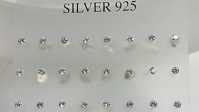 Girls Ladies 925 Sterling Silver Small Stud 3mm Earrings Clear White Crystal