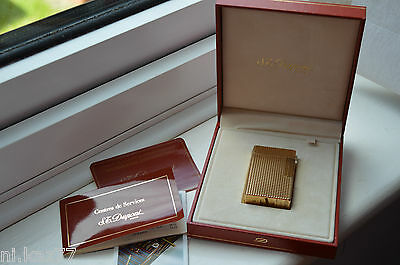 VINTAGE ST DUPONT 20 Micron Gold Plated Lighter with Original Case, USED