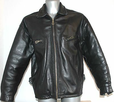 Mens TENNENTS Lager Vintage Jacket 100% Black Leather Cafe Racer Brando M/L