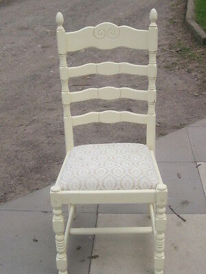 Vintage High LadderBack Dining Chair with Upholstered Seat