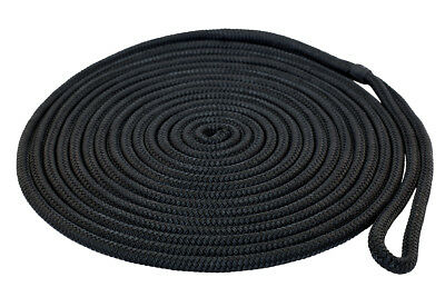 Nylon Double Braided Dock Line 10mm x 7.6m, Black Proceans