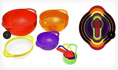 Gourmet Home Products 8 pc Multicolour Prep Set with Red Outer Bowl