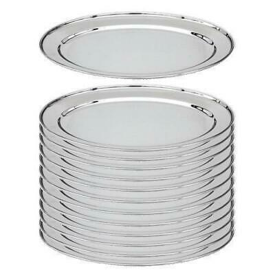 12x Oval Platter, 450mm, Stainless Steel, Oval w Rolled Edge, Plate / Catering