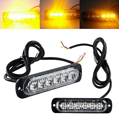 2x 6LED 12V-24V Amber Car Truck Emergency Light Flashing Breakdown Strobe Lamp