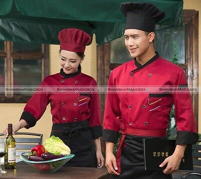 Kitchen Cooker 3/4 Sleeve Working Uniform Coat Chef Waitress Waiter Jacket