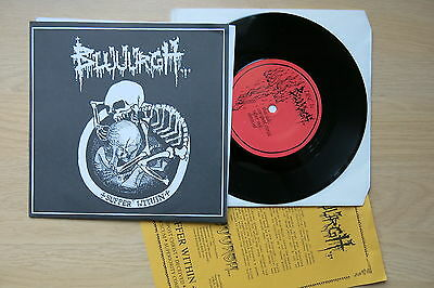 """BLUUURGH Suffer Within Holland 2 x 7"""" picture sleeve with insert Death Metal"""