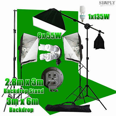 Photo Studio Softbox Lighting Boom Arm Soft box Light Muslin Backdrop Stand Kit