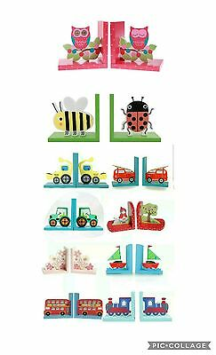 childrens nursery girls boys wooden bookends kids bedroom decoration book ends