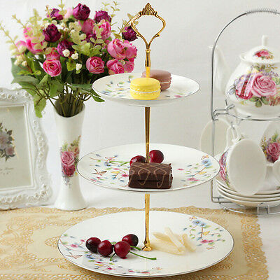 2/3 Tier Cake Plate Stand Cupcake Fitting Silver Golden Wedding Party Cocktail