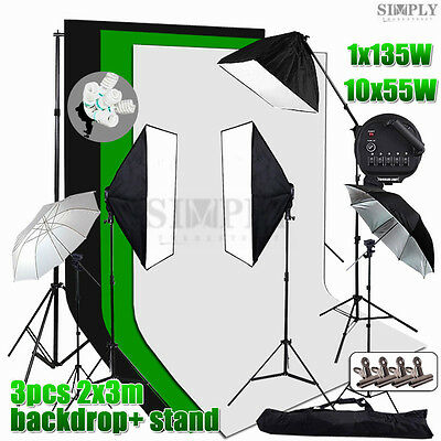 Photography Studio Softbox Soft box Lighting Umbrella Light Stand 3 Backdrop Kit