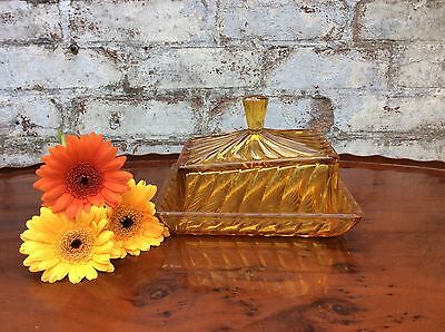 Vintage Art Deco Glass Butter Dish Orange Depression Glass