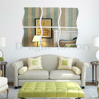 6Pcs 3D Mirror DIY Sticker Home Wall Ceiling Room Decor Mural Decal Stick On New