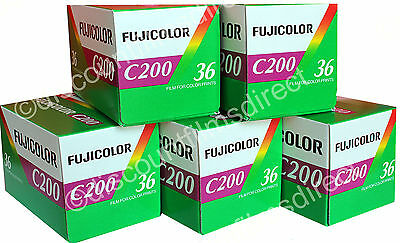 5 x FUJI FUJICOLOR C200 35mm 36exp COLOUR PRINT CAMERA FILM by 1ST CLASS POST