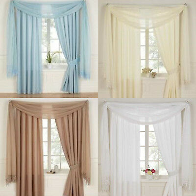 Daisy Plain Voile Lined Tape Top Curtains With Optional Macramé Accessories