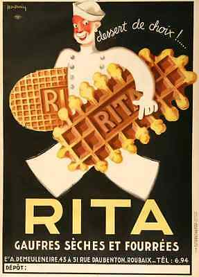 Metal Sign Rita Biscuits By Dupin 1 1930S French Waffles A3 16x12 Aluminium