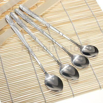 6/12Pcs Long Thick Stainless Steel Ice Coffee Cocktail Dessert Soup Tea Spoons