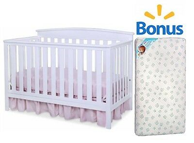 Convertible Baby Crib 4 in 1 Toddler Fixed-Side Nursery With Bonus Mattress New