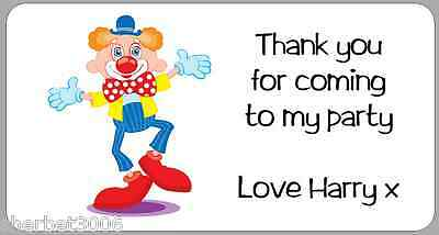 24 x Personalised Stickers Clown Thank You Party Address Labels