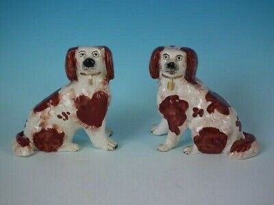 Small Pair Staffordshire Pottery Spaniels