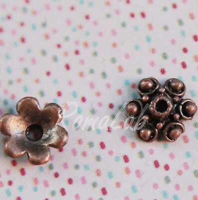 10 COPPETTE COPRIPERLA color rame FIORE PERLA COPRI PERLE DECORATE 10 MM