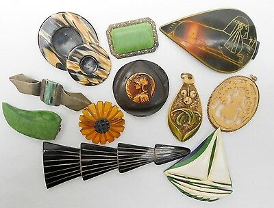 Beautiful Lot X 11  Vintage 1920'/30' Early Celluloid Bakelite Pin Brooch,etc.