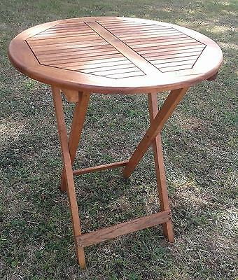Acacia Wood Folding Table. 75cm Height x 60cm Round. Garden Side Table. New.