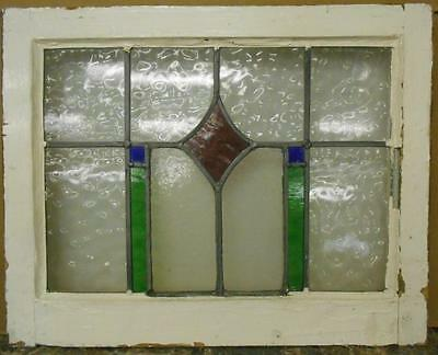 "MID SIZED OLD ENGLISH LEADED STAINED GLASS WINDOW Simple Geometric 22.5"" x 17.75"