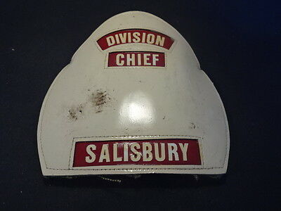 Old Vt Leather Helmet Shield Fire Department Division Chief Salisbury Fireman