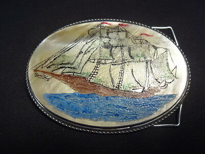 """Silver Tone Colorful Ship Boat In Water Design Belt Buckle 3"""" x 2"""""""