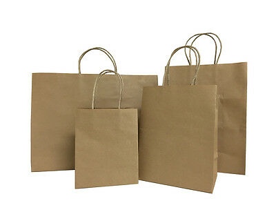 100 Brown Small Kraft Paper Bags, Shopping handles Party Gift Bags ...